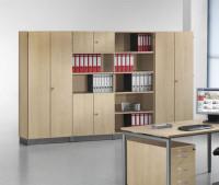 Modufix Kombi-Büroschrank Anbauelement mit Türen/Böden Lichtgrau