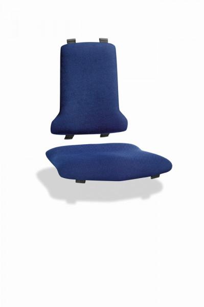 Blaues Sitz- und Rückenpolster aus Stoff für Arbeitsstuhl Tec-Line