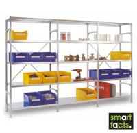 Komplett-Fachbodenregal SMARTFACTS, Grundregal mit Anbauregalen, Höhe 2500 mm 600 / 15