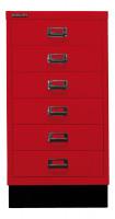 Schubladenschrank mit 6 Schubladen für DIN A3 Kardinalrot / mit Sockel