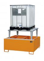 Auffangwannen für Tankcontainer und Fässer, mit Abfüllaufsatz Mausgrau RAL 7005 / 1460