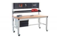 Komplett-Arbeitstisch MULTIPLAN mobil mit Aufbausäulen, Lochplatte, Ablagekonsole und Unterbau sowie 1500 x 800 / Resedagrün RAL 6011