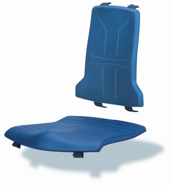 Blaues Sitz- und Rückenpolster aus PU-Integralschaum für Arbeitsstuhl Tec-Line