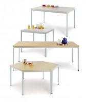 uniDesk Colors Ahorn Dekor 25 mm mit Wunschfarbe, 1400 x 700 x 725 mm, Trapeztisch lichtgrau / graug Melamin / Lichtgrau RAL 7035