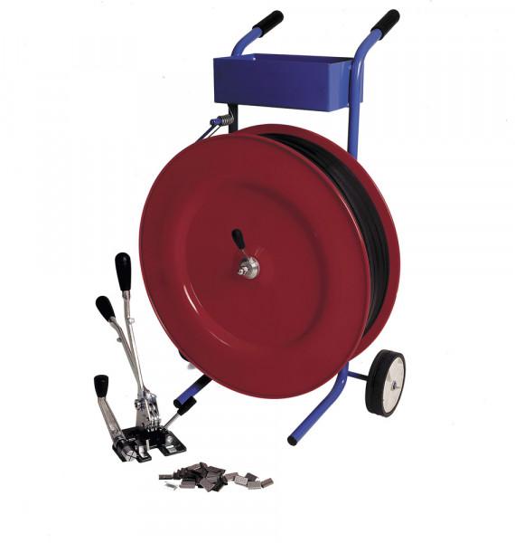 fahrbahrer Abrollwagen für Abrollerset Kunststoffbänder, Bandbreite 13 mm