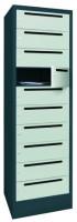 Postverteilerschrank, Abteilbreite 400 mm, 10 Fächer Anthrazit RAL 7016 / Reinorange RAL 2004