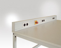 Energie-Versorgungs-Kabelkanal leitfähig 1600 / 3 x 2-fach Steckdose mit Not-Aus-Schalter