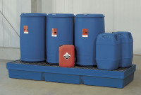 Sicherheits-Kunststoffauffangwannen 1240 x 1240 x 350 / Mit PE-Gitterrost