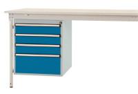 Schubfach-Unterbauten BASIS, stationär, 3 x 100 , 1 x 200 mm Lichtgrau RAL 7035 / Brillantblau RAL 5007