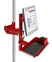 Ergo-Monitorträger mit Tastatur- und Mausfläche 100 / Rubinrot RAL 3003