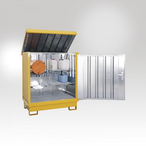 Gefahrstoff Depot, mit 4 Regalstützen, 2 Gitterroste, 2 Fassauflagen