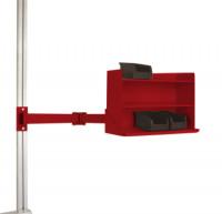 Sichtboxen-Regal-Halter-Element leitfähig Doppelgelenk / Rubinrot RAL 3003