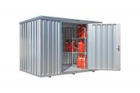 Gasflaschencontainer 1-flügelig, BxTxH 3050 x 2170 x 2250 mm Grasgrün RAL 6010 / mit Gitterrostboden