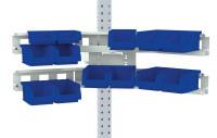 Cockpit Boxenträger-Element mit Einfach oder Doppelträger für MULTIPLAN Arbeitstische Lichtgrau RAL 7035 / Doppelträger