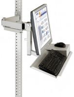 Monitorträger mit Tastaturträger und Mausfläche für MULTIPLAN Arbeitstische 75 / Lichtgrau RAL 7035