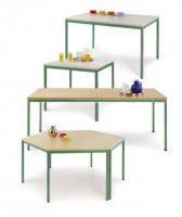 uniDesk Colors Ahorn Dekor 25 mm mit Wunschfarbe, 1400 x 700 x 725 mm, Trapeztisch lichtgrau / graug Ahorn / Resedagrün RAL 6011