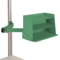 Sichtboxen-Regal-Halter-Element Resedagrün RAL 6011