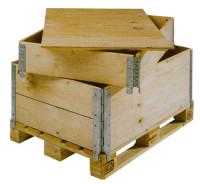 Holz-Aufsetzrahmen für Holzpaletten, klappbar 4 Scharniere 400 / 1200 x 1000
