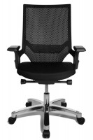 Bürodrehstuhl Miami Alu-poliert/Rahmen schwarz / Schwarz