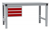 Schubfach-Unterbauten MULTIPLAN, mobil, 3x100 mm Rubinrot RAL 3003 / 1000