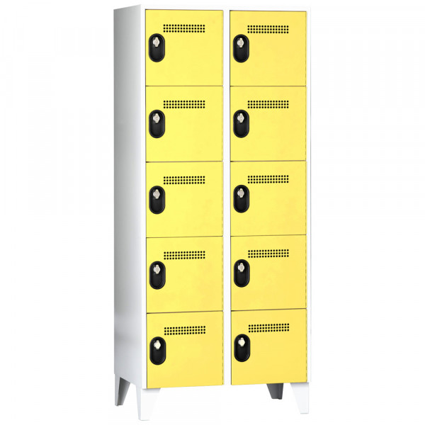 Schließfachschrank - Serie 90, 2x5 Fächer, HxBxT 1850 x 600 x 500 mm, Abteilbreite 300 mm