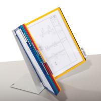 Klarsichttafel-Tischständersystem je 2 Tafeln in schwarz, rot, gelb, grün, blau / 10