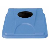 Flacher Dosen/Flaschen-Deckel für Kunststoff-Wertstoffsammler Blau