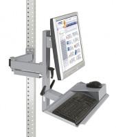 Ergo-Monitorträger mit Tastatur- und Mausfläche Alusilber ähnlich RAL 9006 / 100