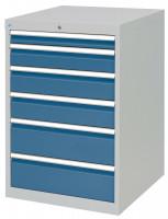 Schubfachschrank MAXTEC stationär, 1 x 75 , 1 x 125 , 2 x 150 , 2 x 200 mm Vollauszug 100%, 180 kg / Enzianblau RAL 5010