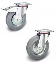 2 Lenk- mit Doppelstopp und 2 Bockrollen auf Vollgummi-Bereifung 100 / Stahlblech