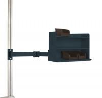Sichtboxen-Regal-Halter-Element leitfähig Doppelgelenk / Anthrazit RAL 7016