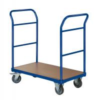 Plattformwagen mit 2 Schiebebügeln ohne Bordkante / 850 x 500