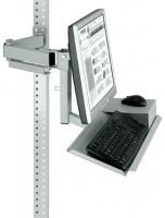 Monitorträger mit Tastaturträger und Mausfläche für MULTIPLAN Arbeitstische Lichtgrau RAL 7035 / 100