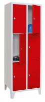 Schließfachschrank - die Bewährten, Abteilbreite 400 mm, Anzahl Fächer 3x3, mit Füßen Lichtgrau RAL 7035