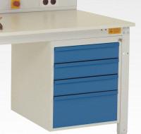Schubfach-Unterbauten CANTOLAB leitfähig, 3x100, 1x200 mm Lichtgrau RAL 7035
