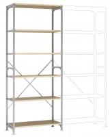 Leichte Fachboden Grundregale PLANAFIX Standard mit Holzböden, einseitige Nutzung 600 / 2500