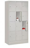 Schließfachschrank - die Bewährten, Abteilbreite 300 mm, Anzahl Fächer 4x3, mit Sockel Lichtgrau RAL 7035