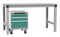 Schubfachschrank BASETEC mobil, 2x 100, 1x 200 mm Graugrün HF 0001 / Graugrün HF 0001