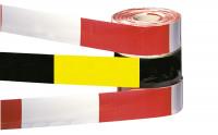 Selbstklebende und leuchtende Absperr- und Warnbänder mit Bandbreite 50 mm und Bandlänge 2500 mm Weiß/Rot