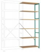 Schwere Holzfachboden Anbauregale PLANAFIX Premium, Höhe 2500 mm, einseitige Nutzung 500 / Graugrün HF 0001