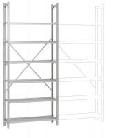 REGISTRA Archiv Standard Einfach-Grundregal, einseitige Nutzung, Höhe 1900-1600 mm 2250 / Einseitig (Diagonalverstrebung)