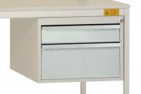 Schubfach-Unterbauten UNIDESK leitfähig, 1x100, 1x200 mm Lichtgrau RAL 7035