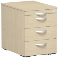 Rollcontainer mit Schublade aus Stahl, HxBxT 566 x 430 x 600 mm 1 Utensilienschub, 3 Schubfächer / Ahorn