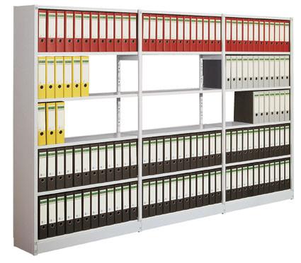 Bürosteck-Grundregal Flex, zur beidseitigen Nutzung, Höhe 2600 mm, 7 Ordnerhöhen