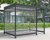 Modulares Überdachungssystem, Eingang 1/3 rechte Frontseite, H x B x T 2510 x 3180 x 2165 mm Grauweiß RAL 9002