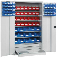 Großraumschrank mit Sichtlagerkästen Alusilber ähnlich RAL 9006 / 56x Größe 2, 35x Größe 3, 6x Größe 8, 9x Größe 9