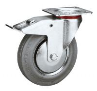 Lenkrolle mit Doppelstopp auf Vollgummi-Bereifung 250 / Stahlblech