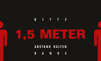 """Schmutzfangmatte """"Bitte Abstand halten"""" mit schwarzem Hintergrund, Querformat Design 1"""