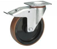 Lenkrolle mit Doppelstopp auf Polyurethan-Bereifung 100 / Polyamid
