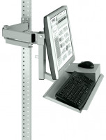 Monitorträger mit Tastaturträger und Mausfläche für MULTIPLAN Arbeitstische Lichtgrau RAL 7035 / 75
